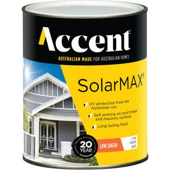 Accent SolarMAX Exterior Low Sheen White 1L