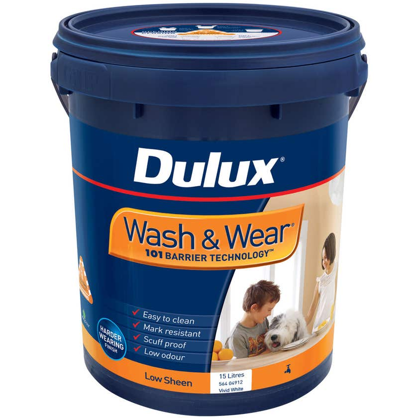 Dulux Wash & Wear Interior Low Sheen Vivid White 15L