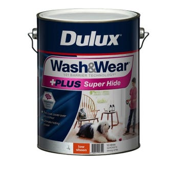 Dulux Wash & Wear +Plus Super Hide Low Sheen Strong White 10L