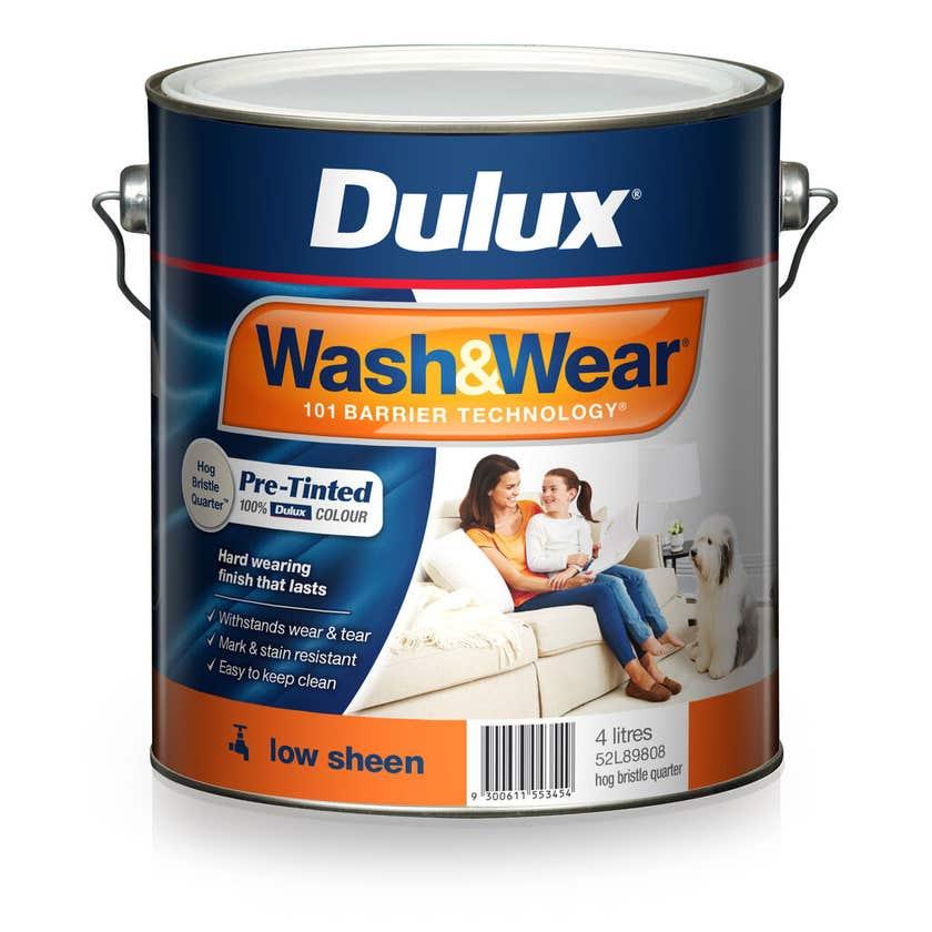 Dulux Wash & Wear Low Sheen Hog Bristle Quarter 4L