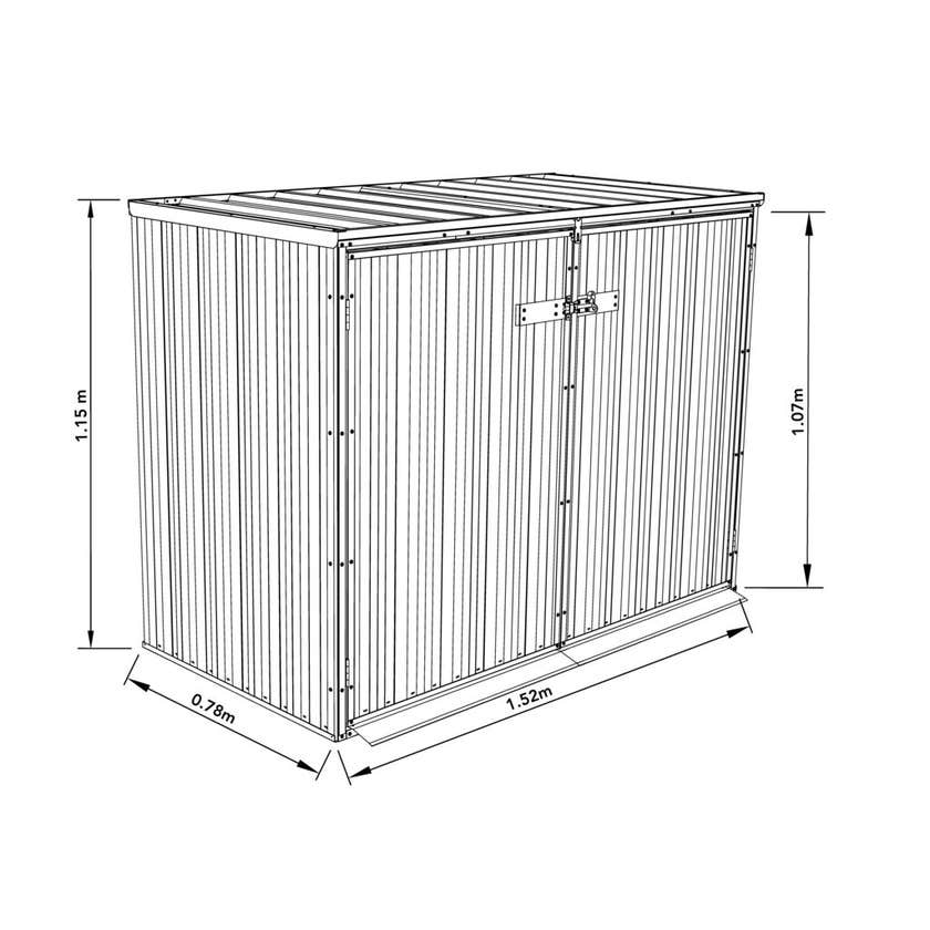 Earthcore Bin Cover Shed Woodland Grey 1.52 x 0.78 x 1.15m
