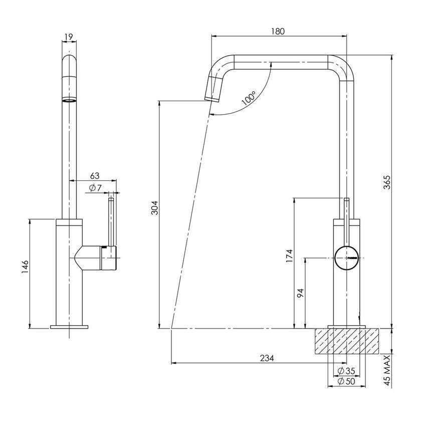 Phoenix Toi Squareline Sink Mixer