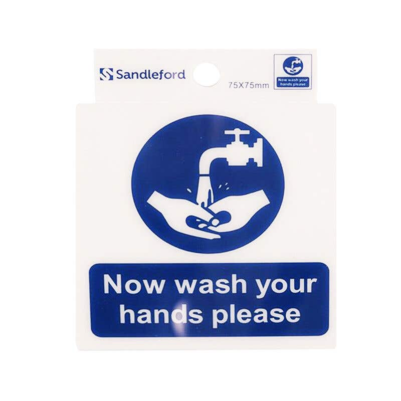 Sandleford Now Wash Your Hands Self Adhesive Sign