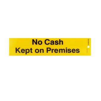 "Sandleford ""No Cash Kept On Premises"" Self Adhesive Sign 245 x 58mm"