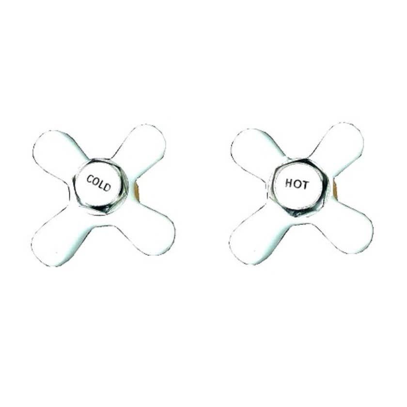 Mildon Cross Style Handle & Button Deluxe White
