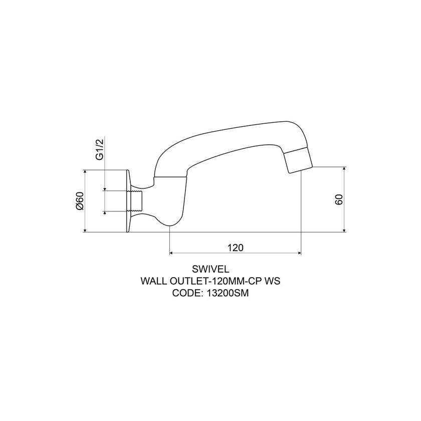 Mildon Cast Swivel Wall Outlet 120mm Chrome