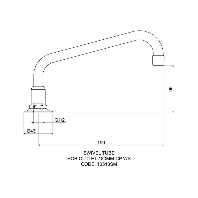 Mildon Hob Spout 180mm Swivel Tube