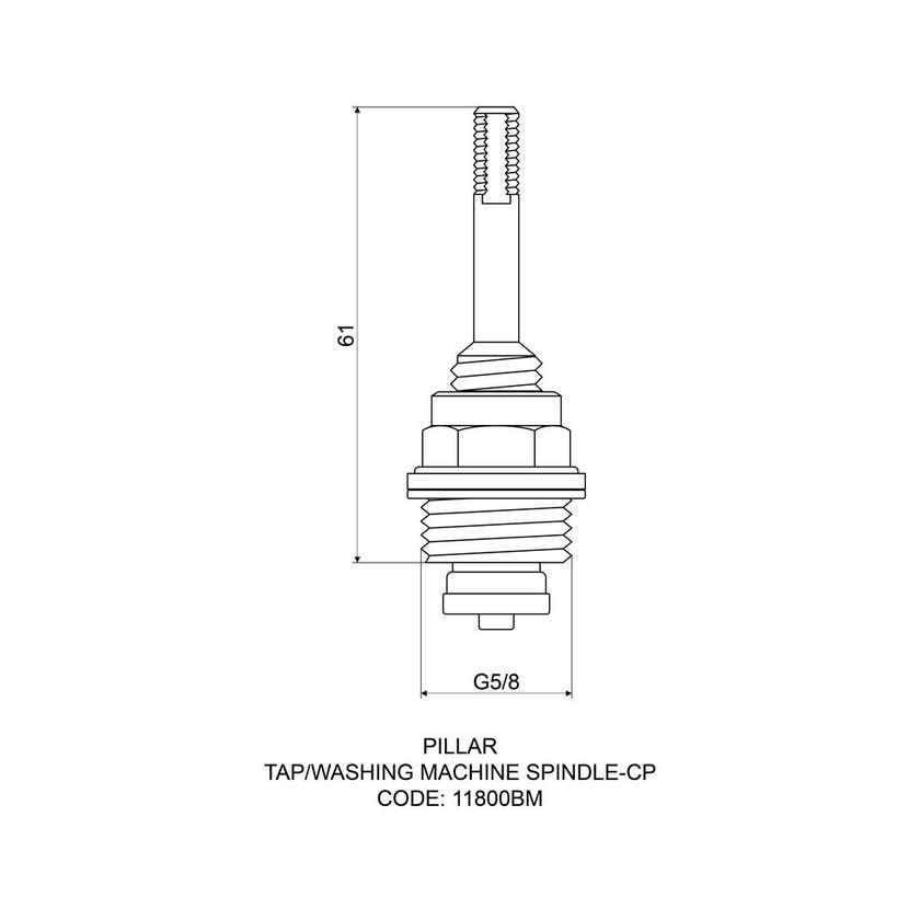 Mildon Spindle Pillar Tap - Washing Machine