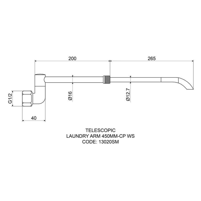 Mildon Telescopic Laundry Arm 450mm