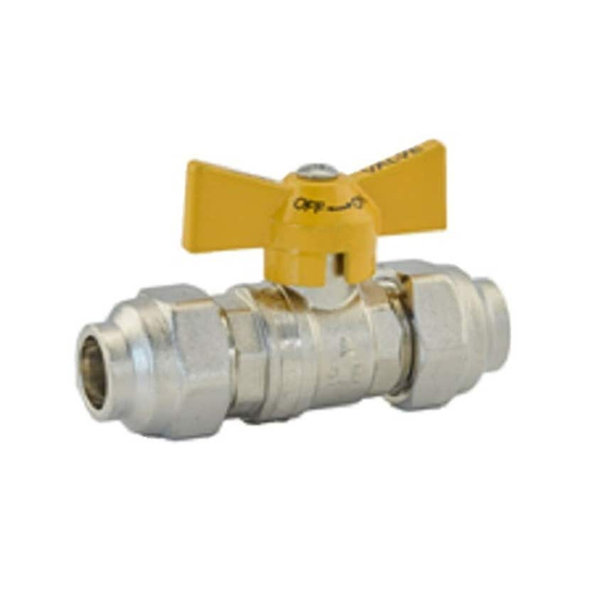 "Mildon Tested Gas Ball Valve 3/4"" (20mm) Yellow Handle"