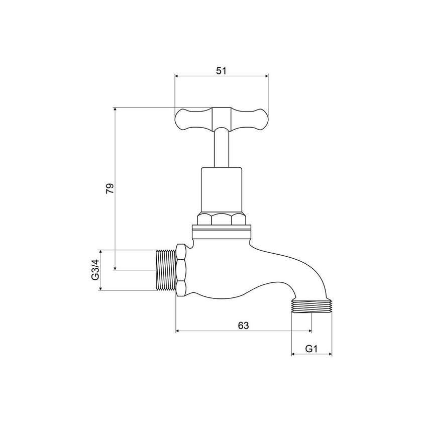 "Mildon Male Hose Bib Brass Garden Tap 3/4"" (20mm)"