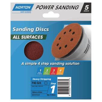 Norton Sanding Disc 150mm x 8h P40 Grit - 5 Pk