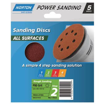 Norton Sanding Disc 150mm x 8H P80 Grit - 5 Pk