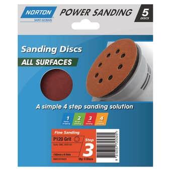 Norton Sanding Disc 150mm x 8h Fine P120 Grit - 5 Pk
