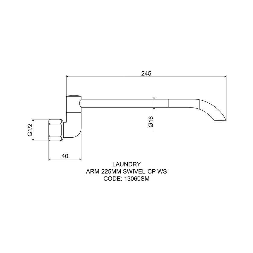 Mildon Laundry Arm Swivel 225mm