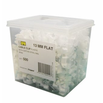 HPM 13mm Flat Cable Clips - 500 Pack