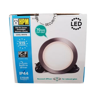 HPM DLI LED Downlight Cool White Black Chrome 5W 70mm