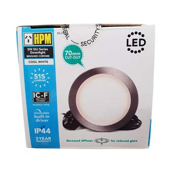 HPM DLI LED Downlight Cool White Black Chrome 5W 70mm