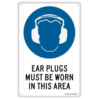 Sandleford Ear Plugs Must Be Worn Sign