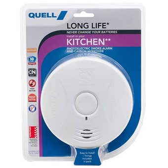Quell Long Life Photoelectric Smoke Alarm and Carbon Monoxide Detector for Kitchen