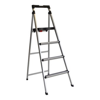 Werner 4 Step Aluminium Ladder With Tray 100kg Domestic