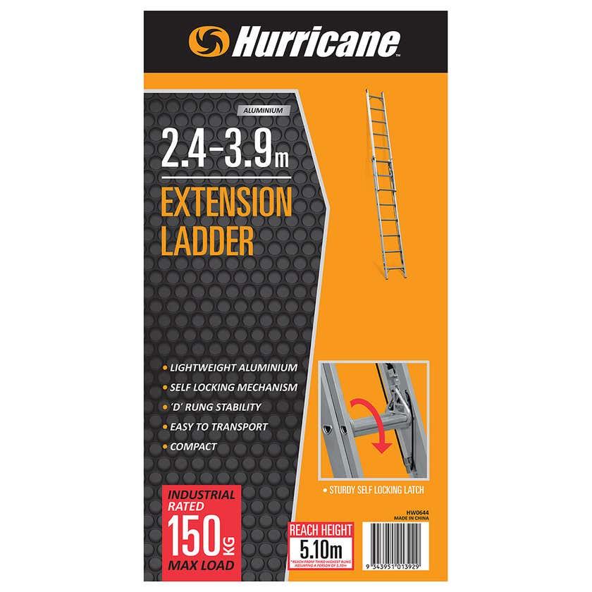 Hurricane 2.4 -3.9m Extension Ladder 150kg Industrial