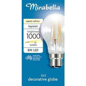 Mirabella LED Globe A60 2700K 8W Warm White