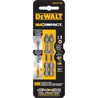 DeWALT Max Power Impact Drill Bit PH1 63.5mm - 2 Pack