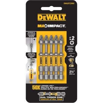 DeWALT Max Power Impact Drill Bit PZ2 63.5mm - 5 Pack