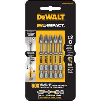 DeWALT Max Power Impact Drill Bit PH2 63.5mm - 5 Pack
