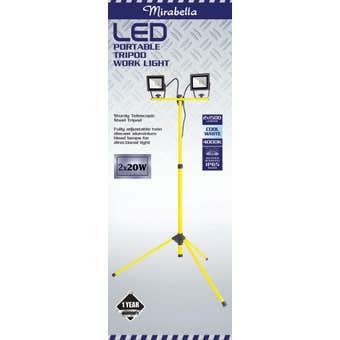 Mirabella LED Tripod Worklight 2 x 20W