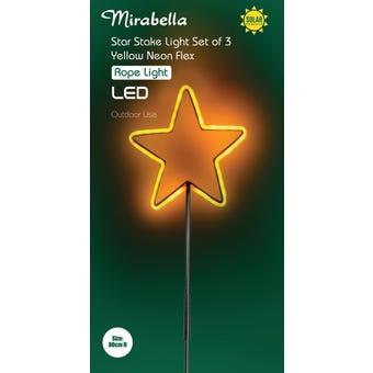 Mirabella LED Solar Stake Neon Star Rope Light - 3 Pack