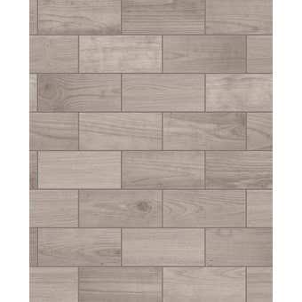 Contour Wallpaper Wooden Tile Brown 10m x 520mm