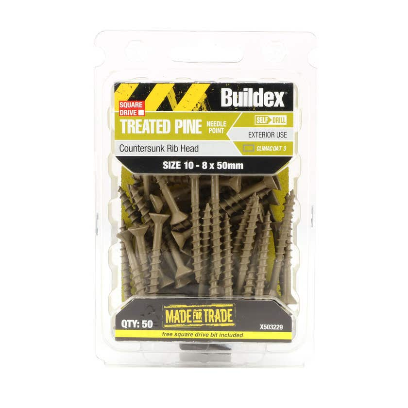 Buildex® Treated Pine Screw Square Drive Countersunk 10 - 8 x 50mm - 50 Pack