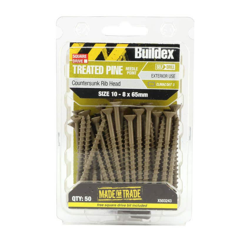 Buildex® Treated Pine Screw Square Drive Countersunk 10 - 8 x 65mm - 50 Pack