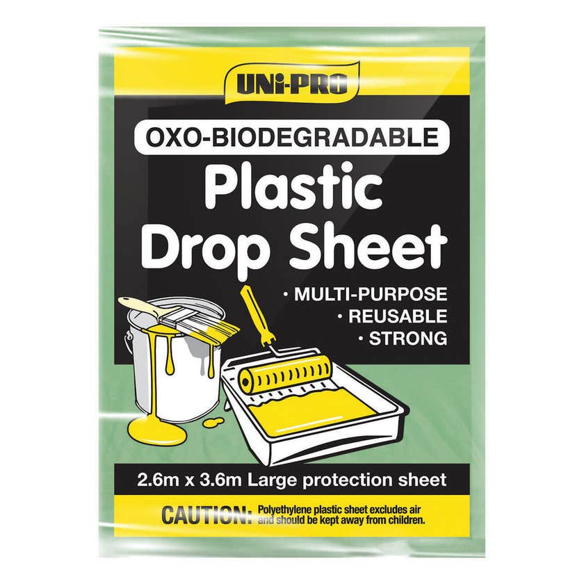Uni-Pro Oxo-Biodegradable Plastic Drop Sheet 2.6m x 3.6m