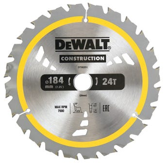 DeWALT Construction Circular Saw Blade 24T 184mm