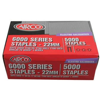 Airco 6000 Series Staples 22mm - Box of 5000