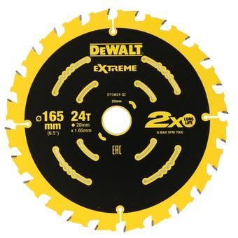 DeWALT Extreme 2x Life Circular Saw Blade 24T 165mm