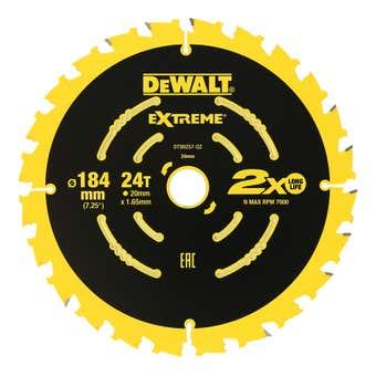 Dewalt Extreme 2x Life Circular Saw Blade 24T 184mm