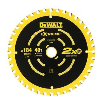 DeWALT Extreme 2x Life Circular Saw Blade 40T 184mm