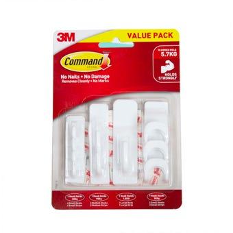 Command Mixed Adhesive Hooks White - 10 Pack