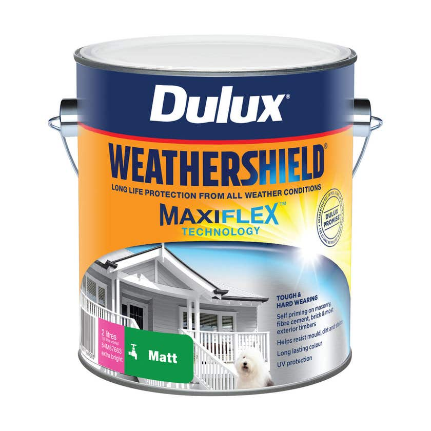 Dulux Weathershield Exterior Matt Extra Bright Base 2L