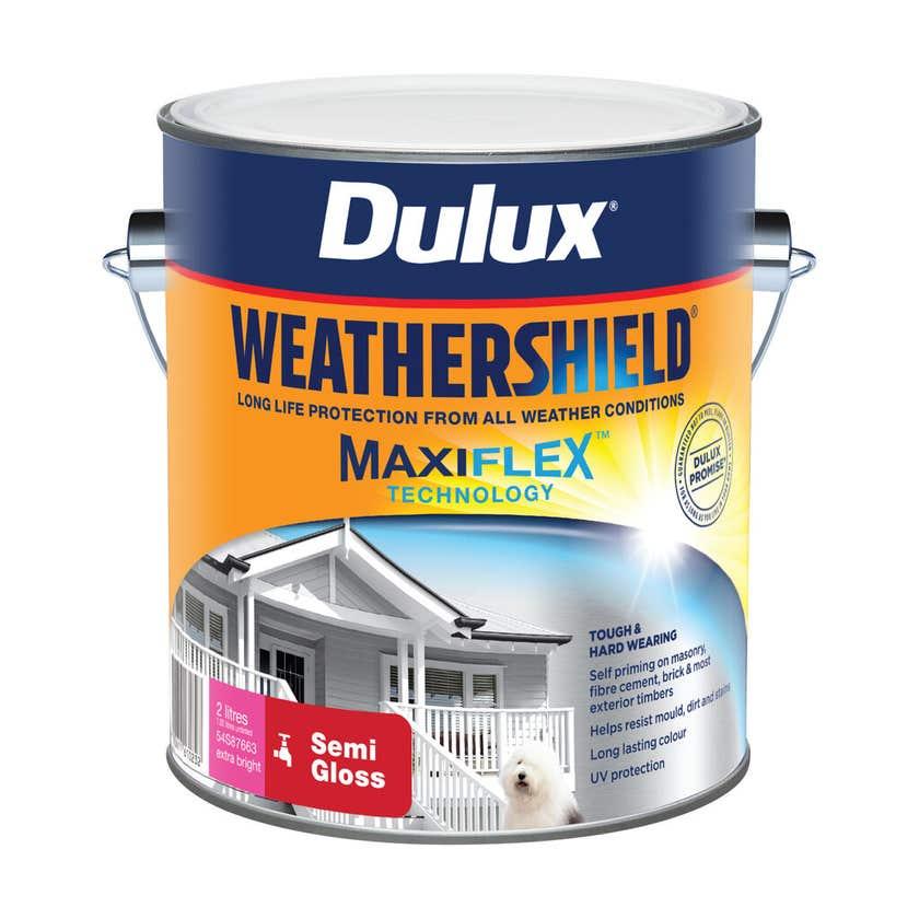 Dulux Weathershield Exterior Semi Gloss Extra Bright Base 2L