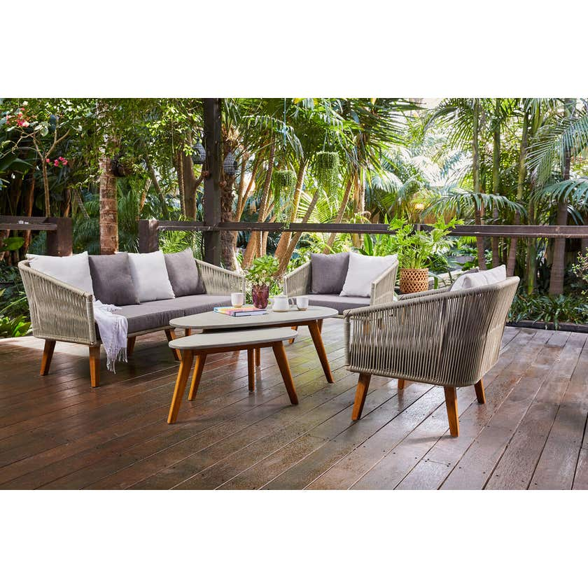 Bora Bora 4 Seater Wicker & Timber Lounge