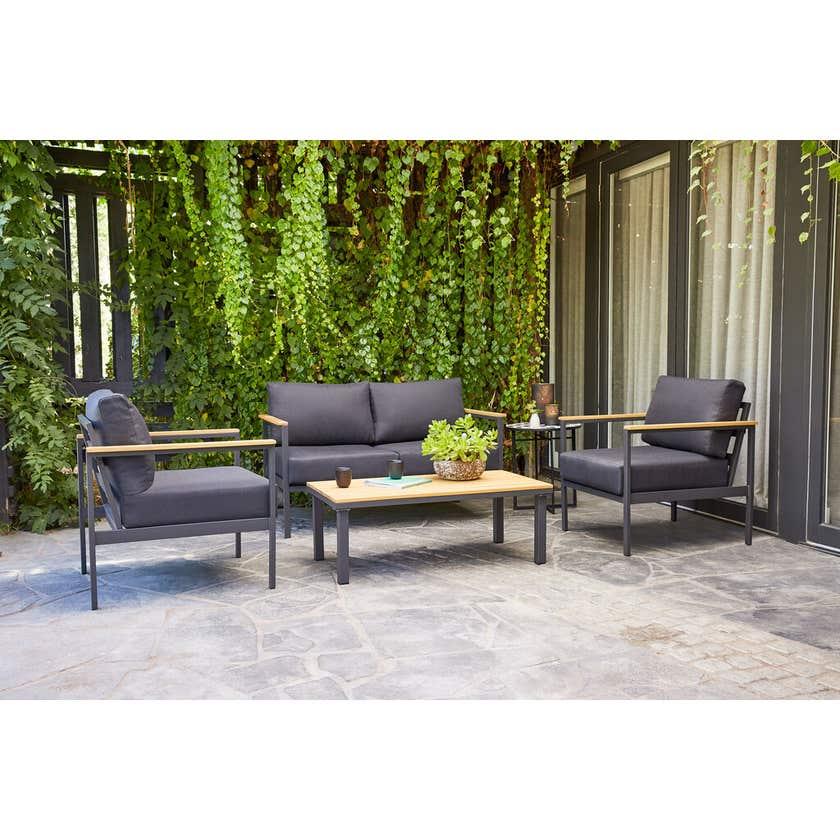 Brooklyn 4 Seater Aluminium Lounge Set Black
