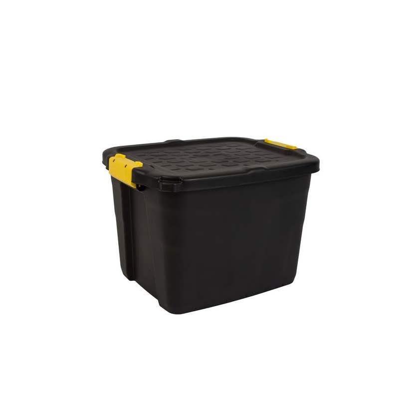 Heavy Duty Storage Box with Lid Black 42L
