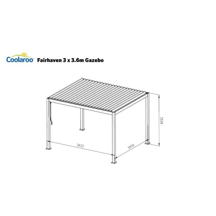 Coolaroo Fairhaven Aluminium Louvre Gazebo 3 x 3.6m