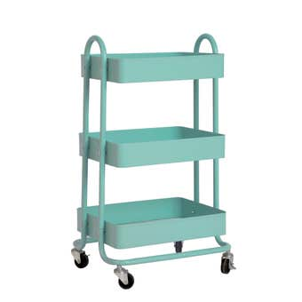 3 Tier Utility Trolley With Handles Turquoise