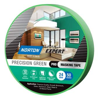 Norton Masking Tape Precision Green 10 Day 24mm X 50M
